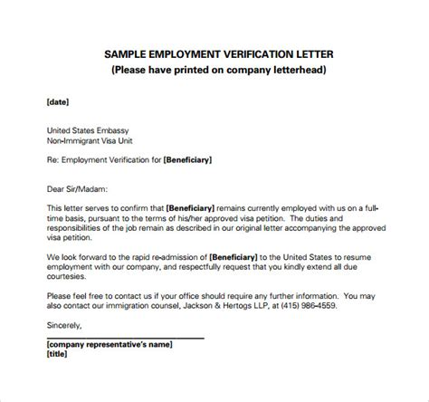 Immigration Employment Letter Format Employment Verification Letter 14 Free Documents In Pdf Word