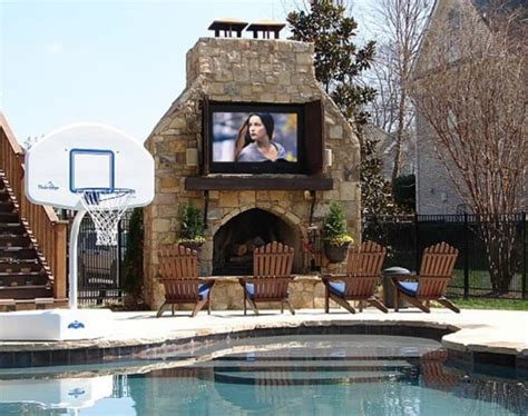 outdoor fireplace and tv the outdoors