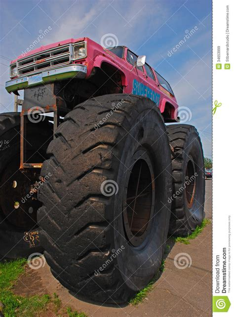 outside monster truck monster truck car bigfoot with giant front wheel editorial