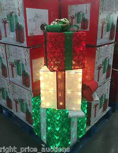 set of 3 lit gift boxes set of 3 indoor outdoor pre lit 175 led gift boxes garden decoration