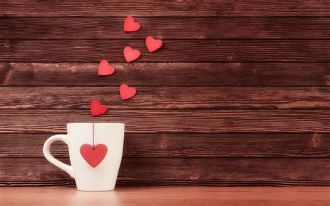 coffee wallpaper red pink hearts fly from coffee cup morning new hd
