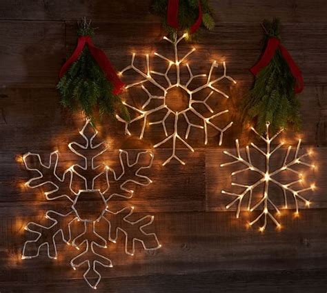 lit simple outline snowflakes pottery barn