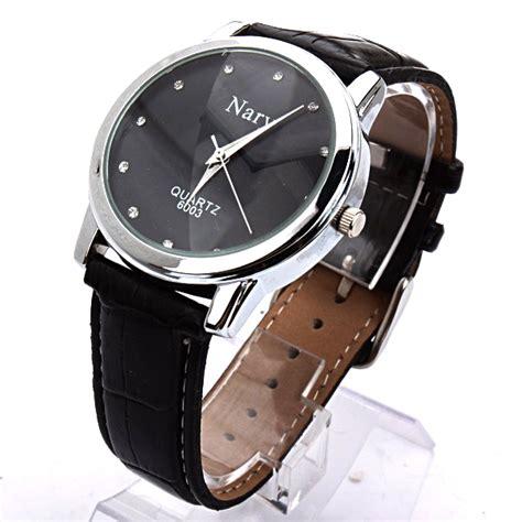 Jam Tangan Kulit nary jam tangan analog pria kulit 6003 black black jakartanotebook