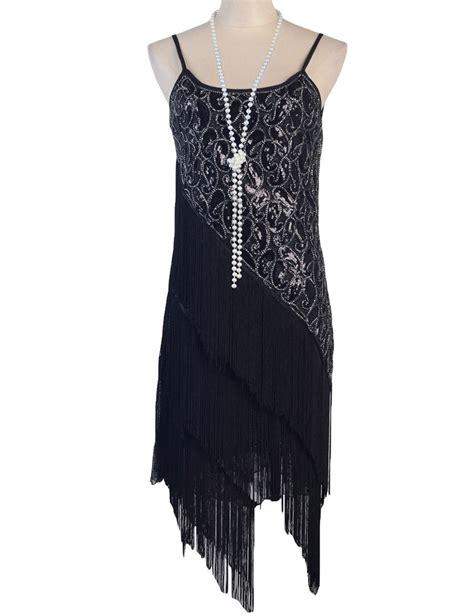 vintage pattern tassel dress women s 1920s paisley art deco sequin tassel double side