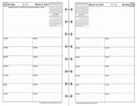 2 page per day planner template daily planner refill one page per day high quality paper