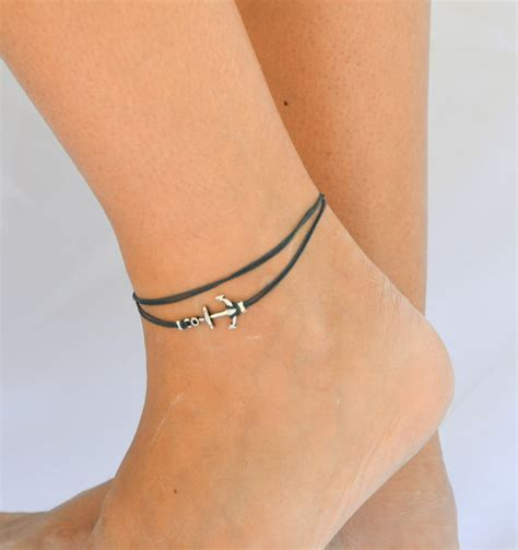 anchor anklet blue dainty wrap anklet with a silver anchor