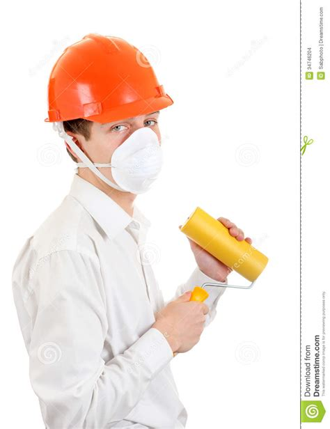 paint man young man with paint roller stock images image 34746204