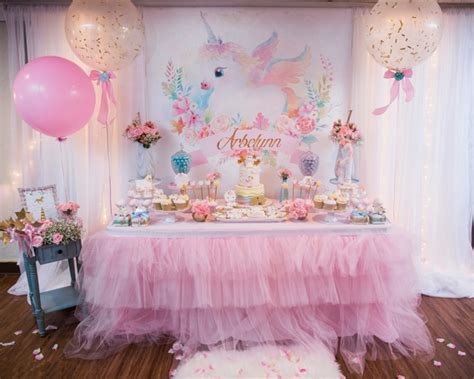 Baby Unicorn Themed First Birthday Party   Pretty My Party