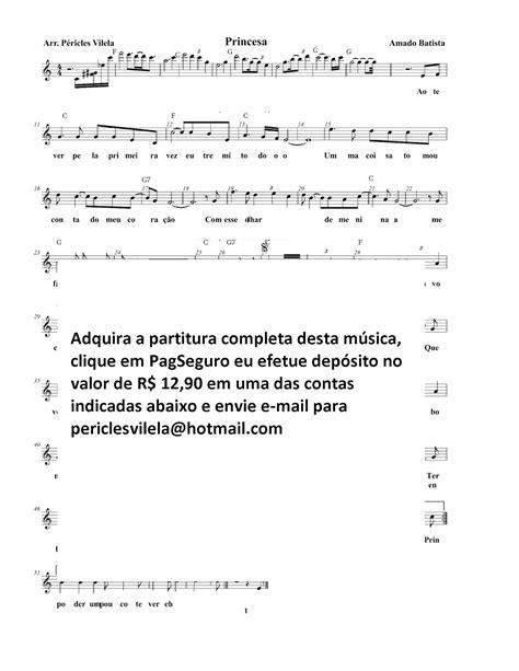 Partituras Musicais: Princesa - Amado Batista - n.º 1694