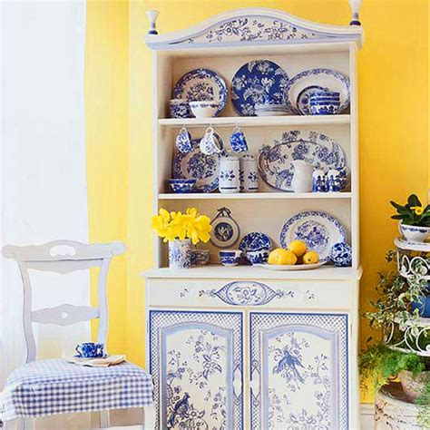 yellow and blue kitchen decor decorating ideas toile fabric traditional home