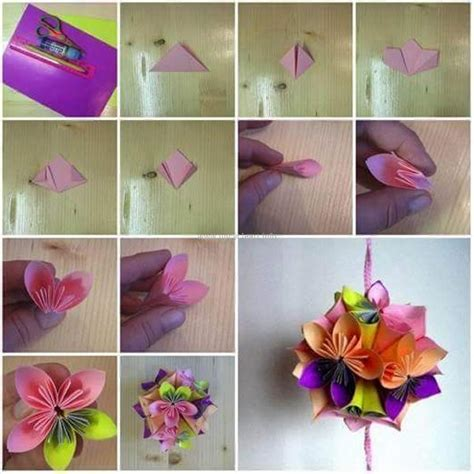 Folded Paper Flowers - diy paper flower projects upcycle