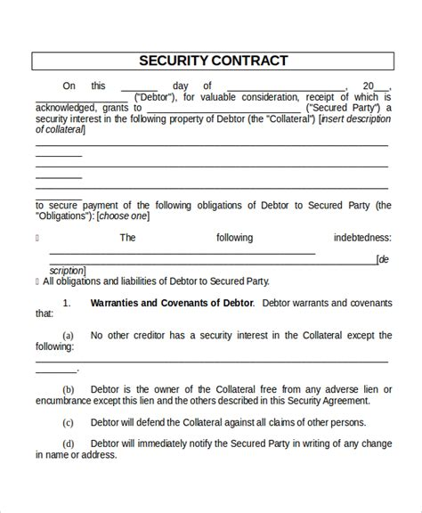 security service contract template free 28 contract templates free sle exle format