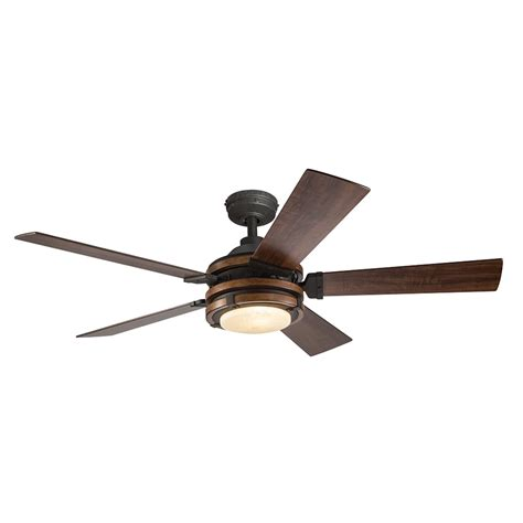 black ceiling fan with light and remote shop kichler barrington 52 in distressed black and wood