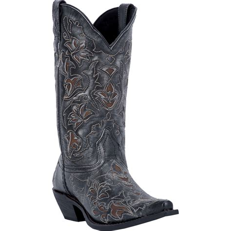 black cowboy boots laredo womens black leather peekaboo underlay snip toe