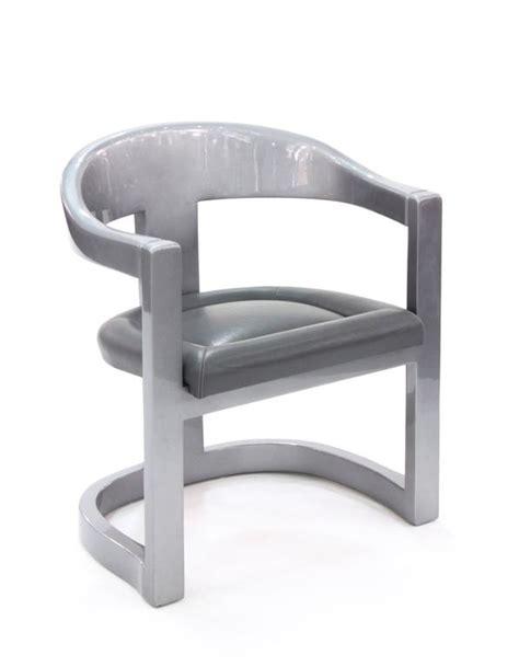 set   onassis chairs  metallic gray lacquer  karl springer  stdibs
