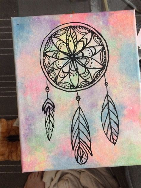 canva drawing hand painted dream catcher on canvas