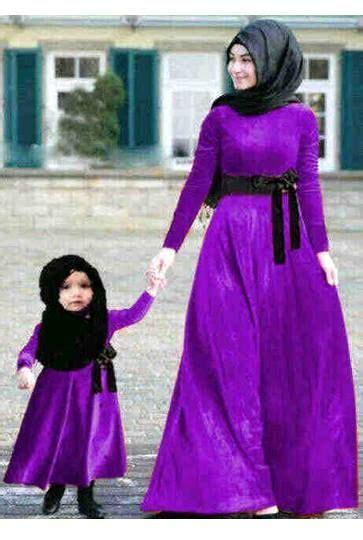 syalum dress dan pashmina kembaran ibu dan anak ungu benhur bahan spandek maxi