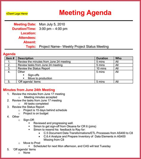 conference review template weekly meeting agenda template 9 sles formats in