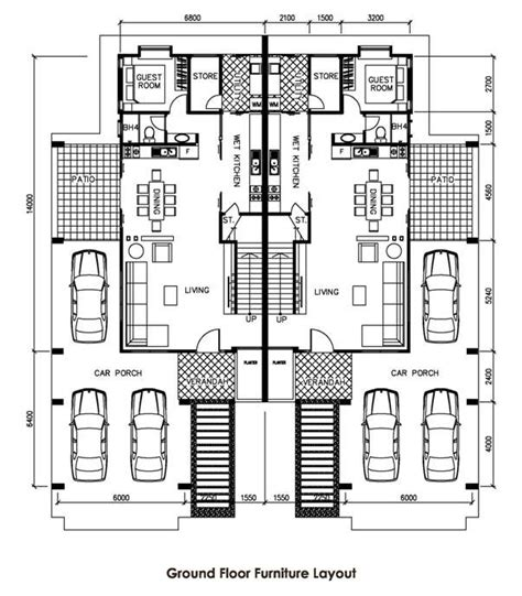 Two Bedroom Floor Plans by Picasso Villa Double Storey Semi Detached House