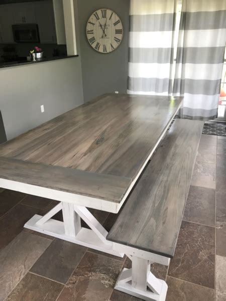 trestle  farmhouse dining table wooden whale workshop