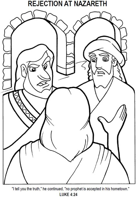 coloring pages of jesus in nazareth jesus rejected at nazareth coloring page