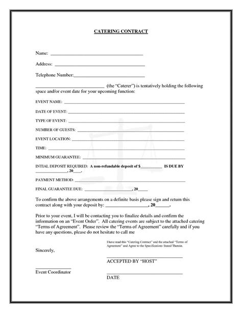 Contract Letter For Catering Catering Contract Free Printable Documents