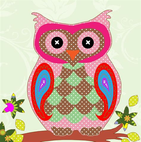 Patchwork Owls - owl colorful patchwork free stock photo