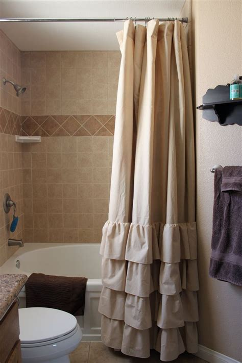 frilly shower curtain tan four ruffle shower curtain