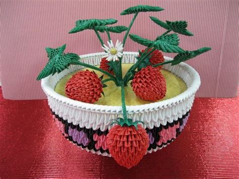 3d Origami Strawberry - 3d origami strawberry bowl origami
