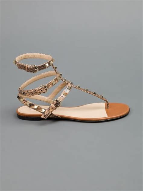 valentino studded sandals valentino studded sandal in brown lyst
