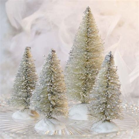 bottle brush christmas tree set 4 ivory white bottlebrush