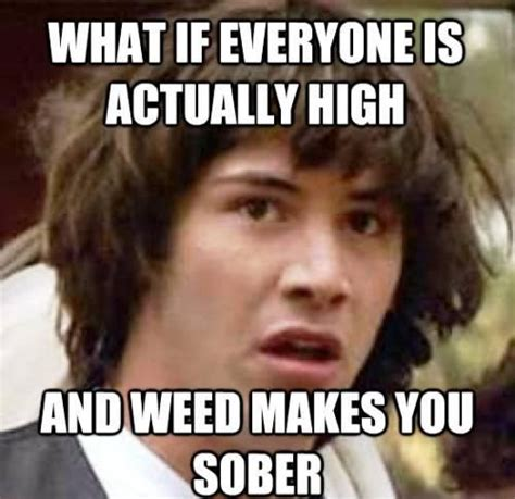 high memes conspiracy keanu ponders being high on marijuana