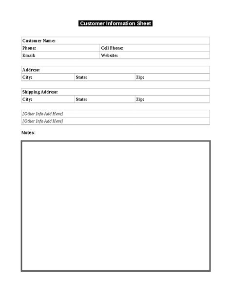 name address info card word template use this simple customer information template to keep a