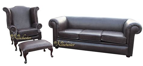 leather sofa suite deals chesterfield hton 3 seater settee wing chair