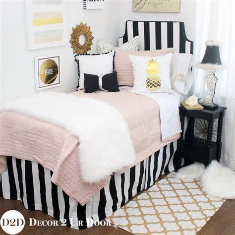 Blush Black Gold Fur Designer Dorm Bedding Set Dormitory Bedding Sets