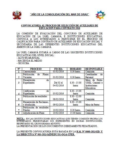 contrato de auxiliares minedu 2016 contrato de auxiliares de educaci 243 n 2016 ugel caman 225
