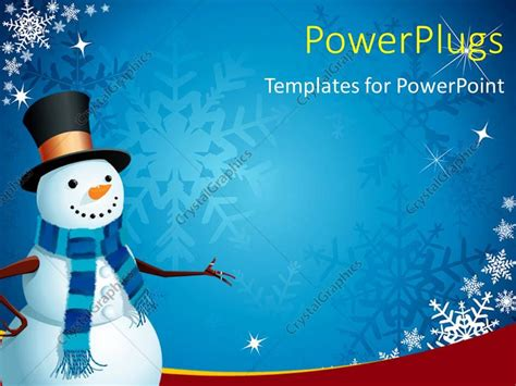 snowman powerpoint template powerpoint template a snowman with bluish background and