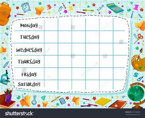 kindergarten timetable template school timetable template weekly lesson schedule stock