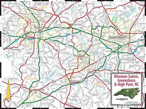 printable nc road map piedmont triad greensboro high point winston salem nc map