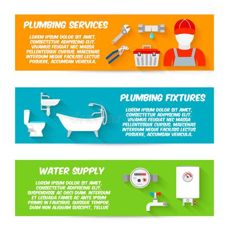 plomeria supply plumbing icons banner set stock vector image 44536388
