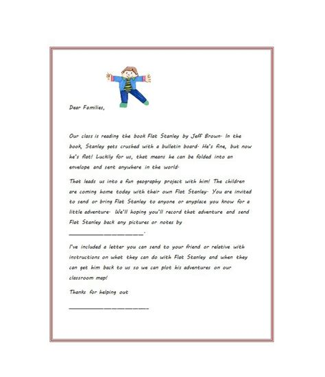 cover letter for stanley 37 flat stanley templates letter exles template lab