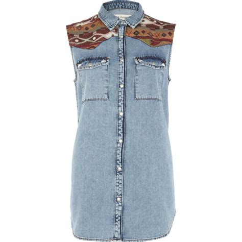 Denim Panel Shirt denim aztec panel acid wash sleeveless shirt tops sale