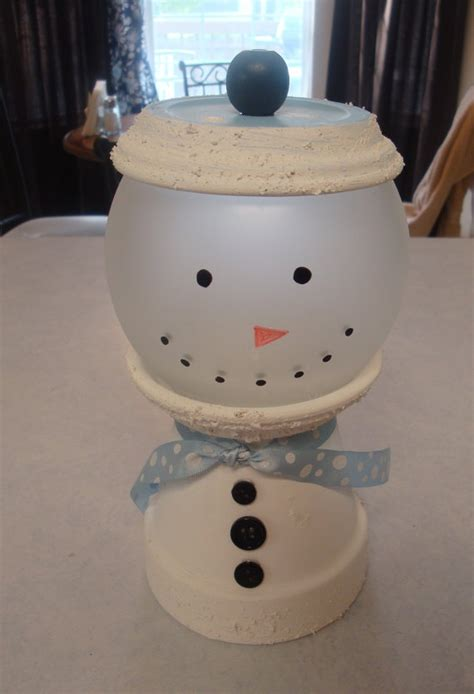 diy clay pot crafts snowman gumball dish by absoluteimagination on etsy