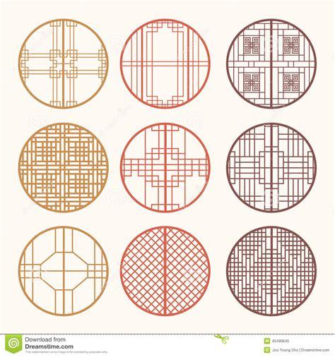 korean pattern vector korean old of window frame symbol sets korean traditional