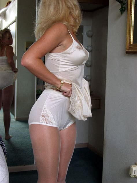 women wear nylon slips image looking at her booty in full cut white nylon panties 3222