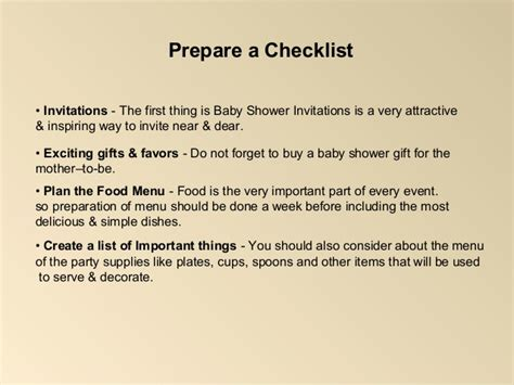 Checklist For Baby Shower Supplies by Baby Shower Checklist Decorations Ideas