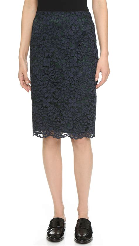 burch lace pencil skirt med navy in blue lyst
