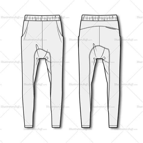 free jeans pattern illustrator men s drop crotch joggers fashion flat template