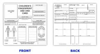 Fingerprint Card Template Id Card Template Id Kits Child Id Cards Ink Strips