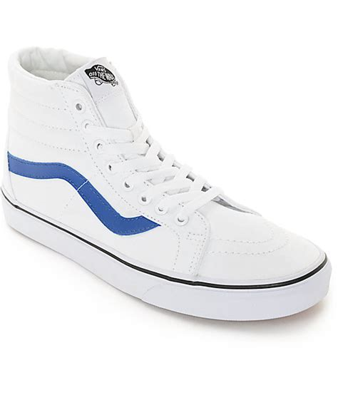 white and blue shoes for vans sk8 hi white and blue canvas skate shoes mens at